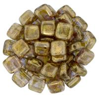 Tile Beads 6mm Square 2-Hole - Luster Gold Smoked Topaz (25)