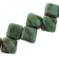Czech Glass 2-hole Silky Beads 6mm (40) Blue Opaque Picasso