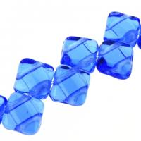 Czech Glass 2-hole Silky Beads 6mm (40) Sapphire