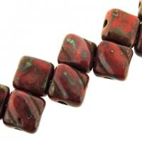 Czech Glass 2-hole Silky Beads 6mm Picasso - Opaque Red 40pcs