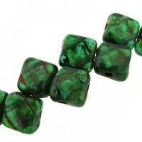 Czech Glass 2-hole Silky Beads 6mm Picasso - Teal 40pcs
