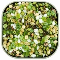 "Czech SuperDuo Two-hole Beads 5.5x2.5mm ""Key Lime Pie"" Mix 24g"