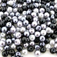 Mixed Luster Glass Pearls Round 6mm - Silver-Grey Mix (200 pcs)