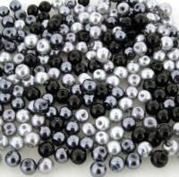 Mixed Luster Glass Pearls Round 4mm - Silver Grey Mix (800 pcs)