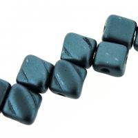 Czech Glass 2-hole Silky Beads 6mm (40) Pastel Petrol
