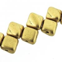 Czech Glass 2-hole Silky Beads 6mm (40) Crystal Bronze Pale Gold