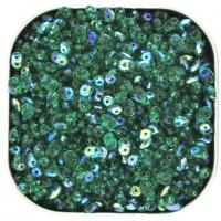 Czech SuperDuo Two-hole Beads 5.5x2.5mm Emerald AB