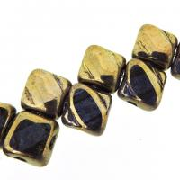 Czech Glass 2-hole Silky Beads 6mm (40) Crystal Gold Luster
