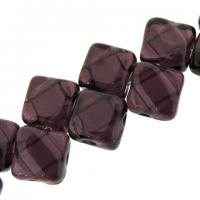 Czech Glass 2-hole Silky Beads 6mm (40) Dark Amy