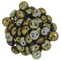 Lentil Beads 2-Hole 6mm - Brown Iris 50pcs