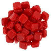 Tile Beads 6mm Square 2-Hole - Opaque Coral Red (25)