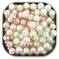 Mixed Luster Glass Pearls Round 8mm Barely Pink Mix Pack of 100