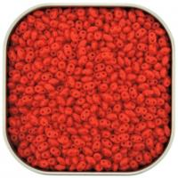 Czech MiniDuo Two-hole Beads 4x2mm Opaque Coral Red 8g