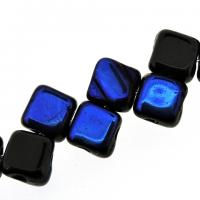 Czech Glass 2-hole Silky Beads 6mm (40) Jet Azuro