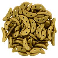 Czechmate 2-Hole Crescent Beads 10x4mm 10g - Matte Mtlc Ant Gold