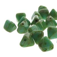 Czech Glass 2-Hole Pyramid Stud Beads 6mm - Turqse Picasso (25)