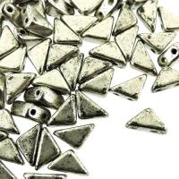 Czech Tango 2-hole Beads 6mm Triangle Antique Silver 9g
