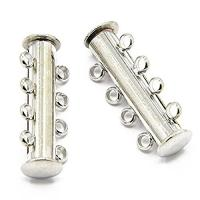 Slide Lock Clasps 4-strand Silver plated 36mm. Pack of 3