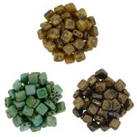Czechmate 6mm Square 2-Hole Tile Beads - 3 Color Picasso Mix 1
