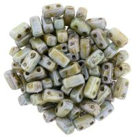 Brick Beads 2-Hole 3 x 6mm 50pcs - Luster Opaque Green
