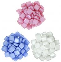 Czechmate 6mm Square 2-Hole Tile Beads - 3 Color Lt Pastel Pearl