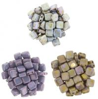 Czechmate 6mm Square 2-Hole Tile Beads - 3 Color Luster Mix