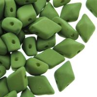 Czech DiamonDuo 2-Hole 8x5mm 10g - Matte Moss Green