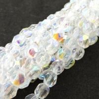 Fire Polished Faceted 4mm Round Beads 100pcs - Crystal AB