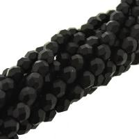 Fire Polished Faceted 4mm Round Beads 100pcs - Jet Black Matte