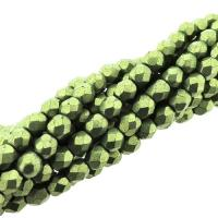 Fire Polished Faceted 4mm Round Beads 100pcs - Metallic Greenery
