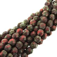Fire Polished Faceted 4mm Round Beads 100pcs - Picasso Coral Red