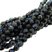 Fire Polished Faceted 4mm Round Beads 100pcs - Picasso Sapphire