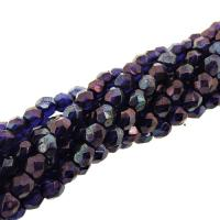 Fire Polished Faceted 4mm Round Beads 100pcs - Cobalt Vega