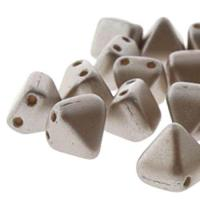 Czech Glass 2-Hole Pyramid Stud Beads 6mm - Pastel Cocoa (25)