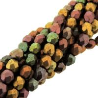 Fire Polished Faceted 4mm Round Beads 100pcs - Mat Mtlc Bnz Iris