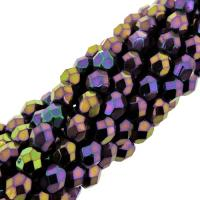 Fire Polished Faceted 4mm Round Beads 100pcs - Purple Iris