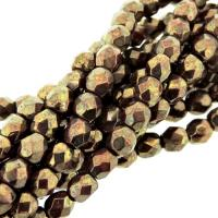 Fire Polished Faceted 4mm Round Beads 100pcs - Picasso Red Brz