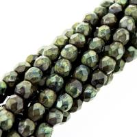 Fire Polished Faceted 4mm Round Beads 100pcs - Picasso Gldnrd FC