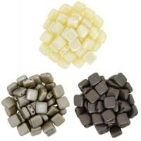 Czechmate 6mm Square 2-Hole Tile Beads - 3 Color Cream/Brown Mix