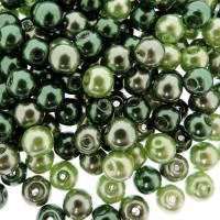 Mixed Luster Glass Pearls Round 6mm - Greenery Mix (300 pcs)