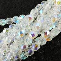 "Fire Polished Faceted 6mm Round Beads 6""str - Crystal AB"