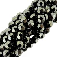 "Fire Polished Faceted 6mm Round Beads 6""str - Hematite"