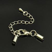 End Cap with Lobster Claw Clasp & Extention Chain 10 Sets ID 3mm