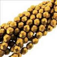 "Fire Polished Faceted 6mm Round Beads 6""str - Mat Mtlc Ant Gold"