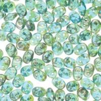 Czech SuperDuo Two-hole Beads 5.5x2.5mm Aqua Rembrandt