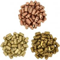 3 Colors:  Brick Beads 2-Hole - Mtlc Flax, Goldenrod & Copper