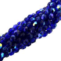 Fire Polished Faceted 4mm Round Beads 100pcs - Cobalt AB