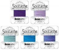 5 Packs Beadsmith Soutache Braided Rayon Cord/Trim Blue & Purple