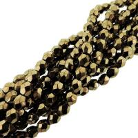 Fire Polished Faceted 4mm Round Beads 100pcs - Bronze
