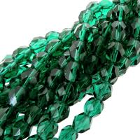 "Fire Polished Faceted 6mm Round Beads 6"" str - Emerald Green"